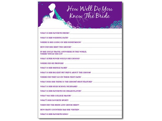 photograph relating to How Well Do You Know the Bride Printable identify How Very well Do Yourself Realize the Bride Sport PDF ESquared Layout
