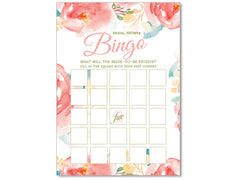 Bridal Vintage Watercolor Flowers Bingo Game PDF