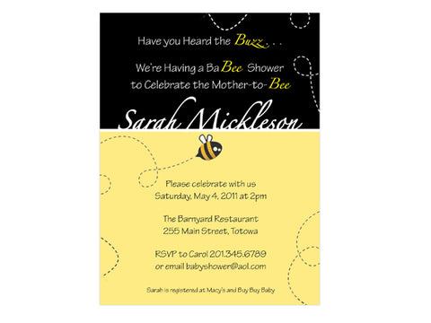 Baby Buzz Bee Shower Invitations