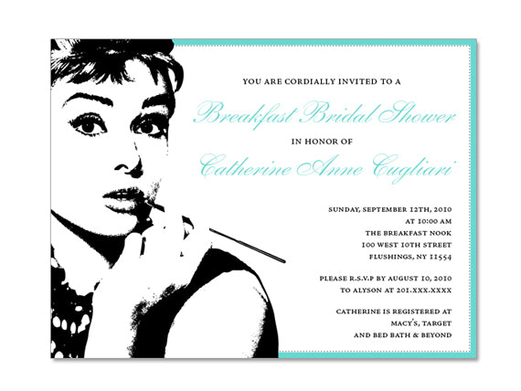 breakfast at tiffany themed invitations esquared design