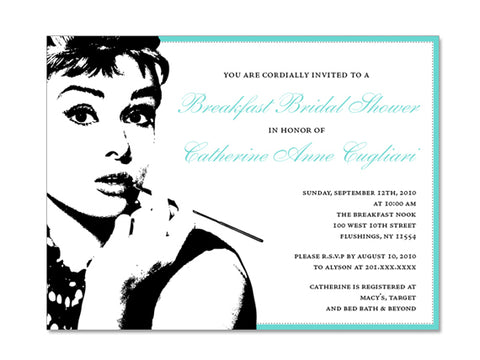 Breakfast at Tiffany Themed Invitations