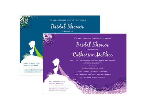 Elegant Bride Bridal Shower Invitations