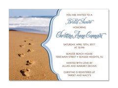 Footprints in the Sand Themed Invitations for Wedding, Bridal or Baby Shower, Birthday or any other Party