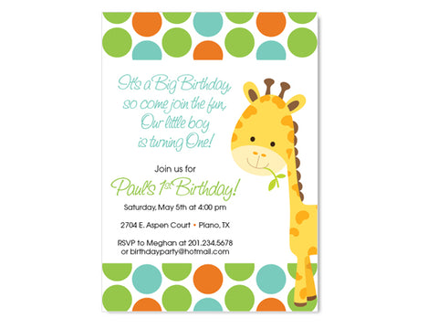 Giraffe Birthday / Shower Invitations