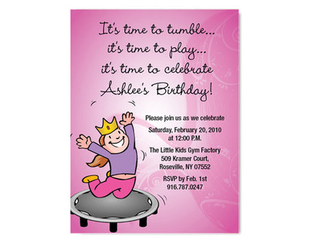 Gymnastic Birthday Invitations