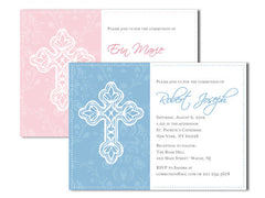 Elegant Cross Baptism or Communion Invitation Announcement