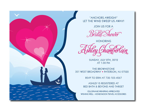 nautical themed bridal shower invitations esquared design