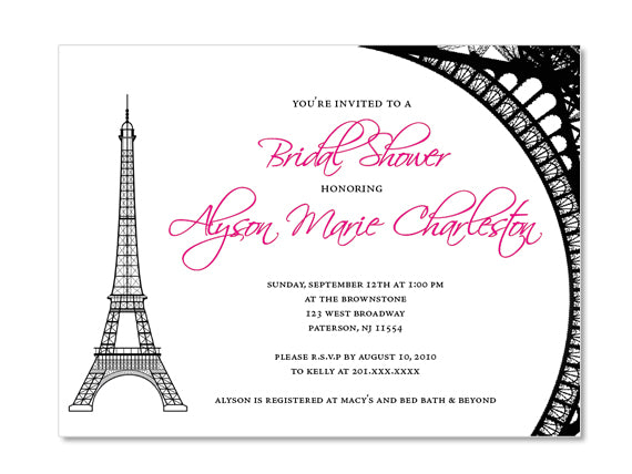 Eiffel tower themed bridal shower invitations esquared design parisian eiffel tower themed invitations for wedding bridal or baby shower birthday or any filmwisefo