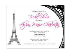 Parisian Eiffel Tower Themed Invitations for Wedding, Bridal or Baby Shower, Birthday or any other Party