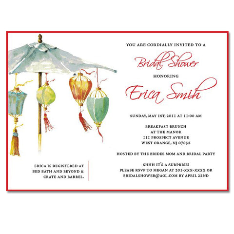 Chinese Lantern Umbrella Themed Invitations