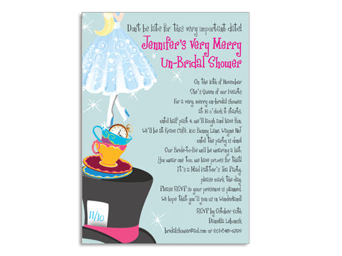 Mad Hatter Tea Party Themed Invitations