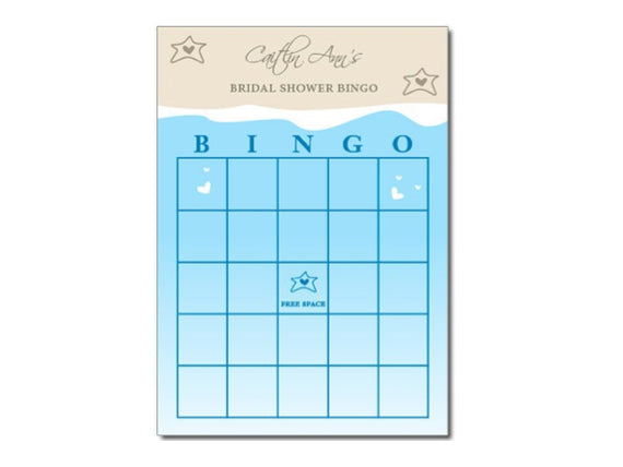 beach themed bingo printable party game bridal shower