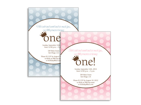 Prince / Princess First Birthday Invitations