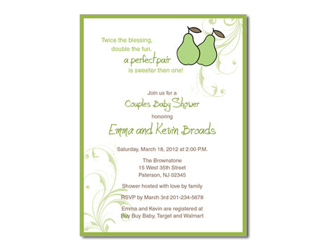 Perfect Pair Shower Invitations