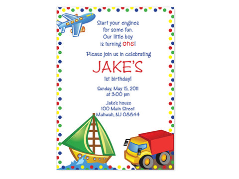 Kids Transportation (Boats, Trucks and Planes) Birthday Invitations