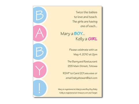 Twice as Nice Baby Shower Invitations