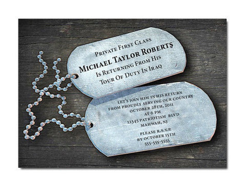 Dog Tag Welcome Home Soldier Invitations