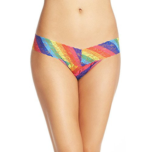 Hanky Panky Women's Rainbow Stripe Low Rise Thong, Multi, One Size