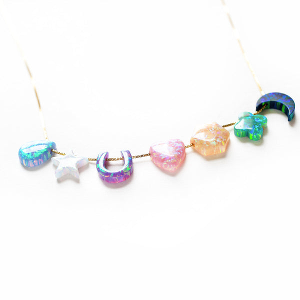 Opal 'Full Spectrum' Rainbow Charm Necklace