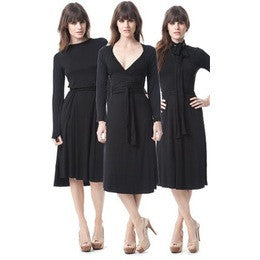 Knee-Length Longsleeve Wrapdress- Black