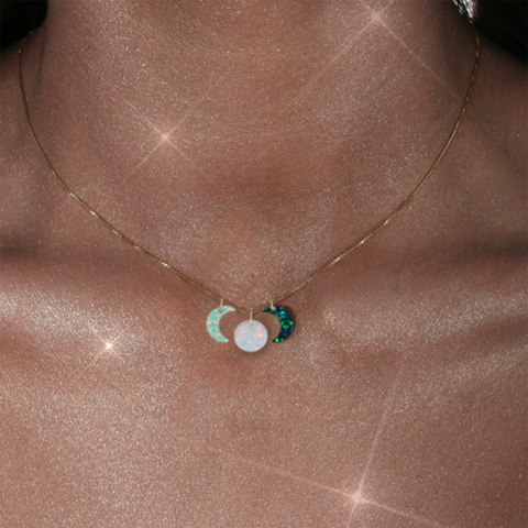 Opal 'Manifest' New, 'Illuminate' Full, & 'Dream' Void Moon Charms Necklace