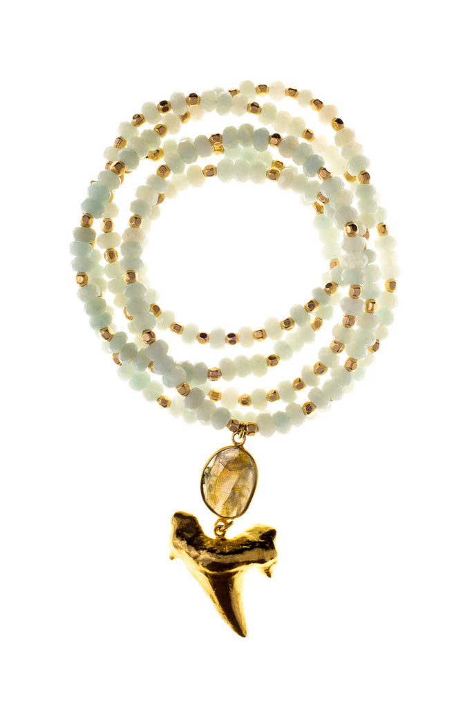 Gold Shark Tooth on Amazonite & Labradorite