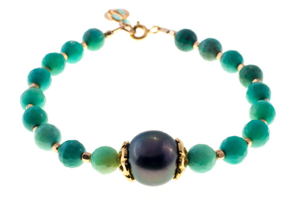 Tahitian Pearl with Chrysophrase Beads
