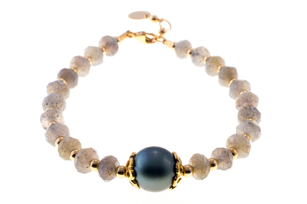 Tahitian Pearl with Labradorite Beads