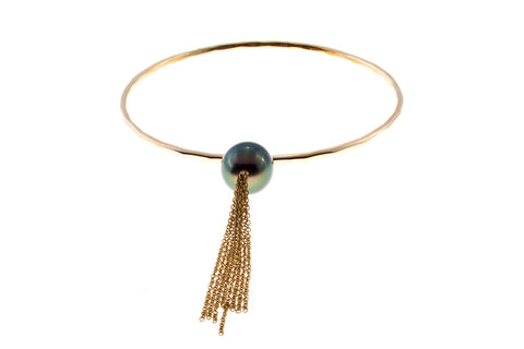 Tahitian Pearl Teardrop Tassle Gold Bangle