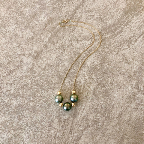 Triple Tahitian Pearl with 14K Gold Beads on 14K Gold Necklace