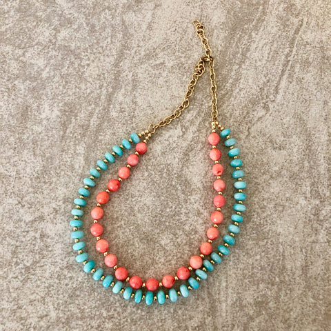 Amazonite & Coral Necklace