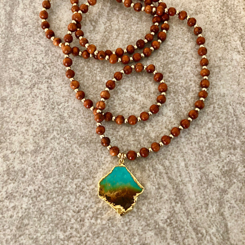 Turquoise & Wood Necklace