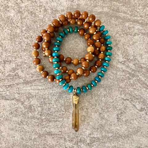 Honey Citrine with Turquoise & Wood Necklace