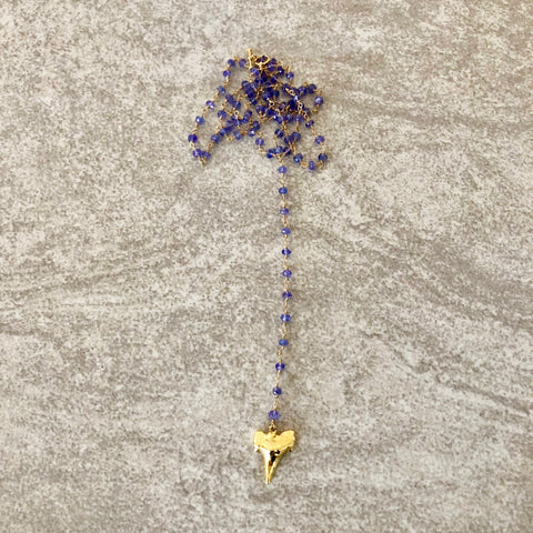 Shark Tooth Tanzanite Lariat Necklace