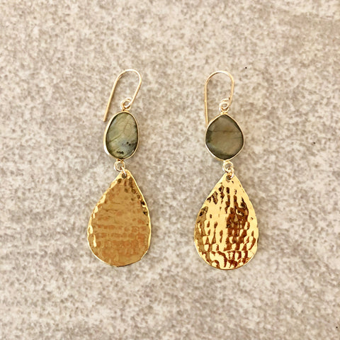 Gold Leaf Labradorite Earrings