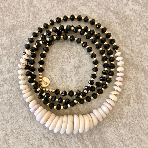 Puka & Black Spinel Necklace