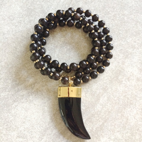 Black Agate Horn Necklace