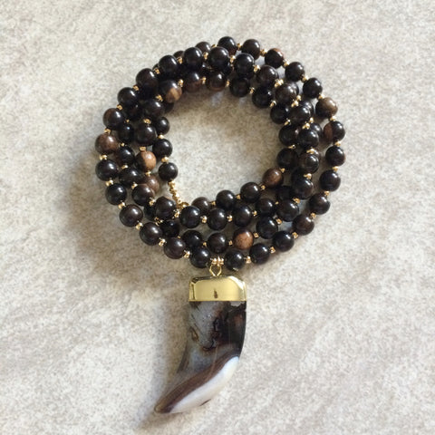 Agate Horn & Wood Necklace
