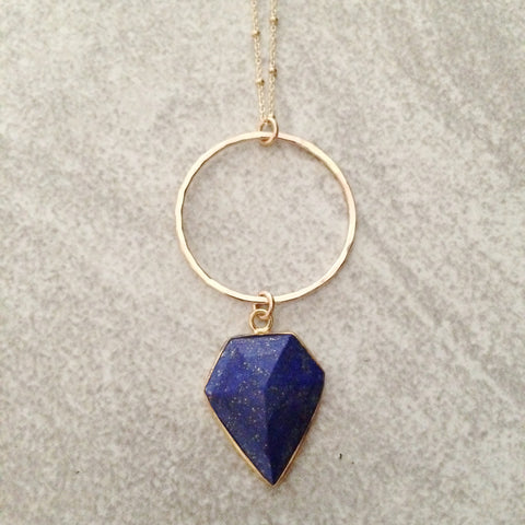 Lapis Shield on Hoop Necklace