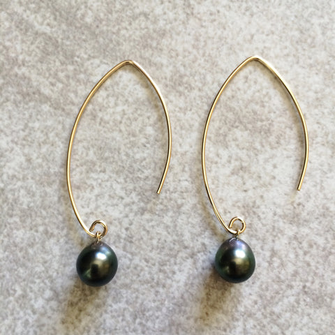 Tahitian Pearl Marquise Earrings