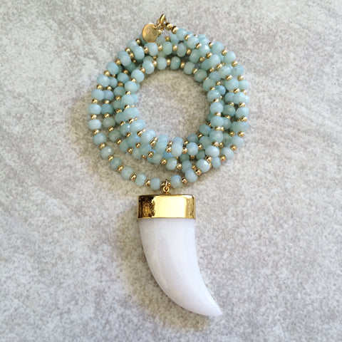 White Jade Horn Amazonite Necklace