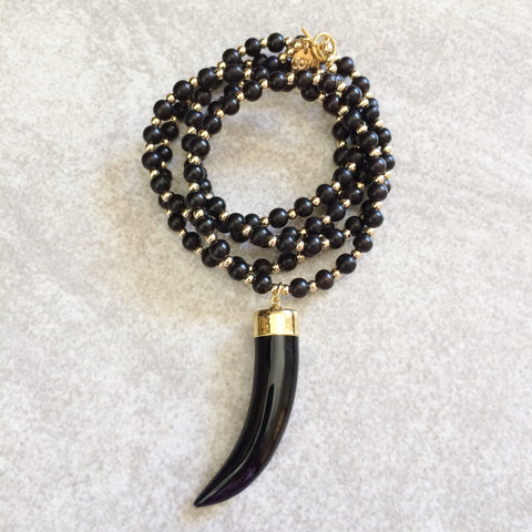 Black Agate Skinny Horn Necklace