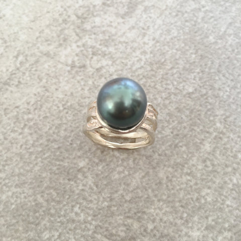 Tahitian Pearl Silver Ring -- Only 1 Left