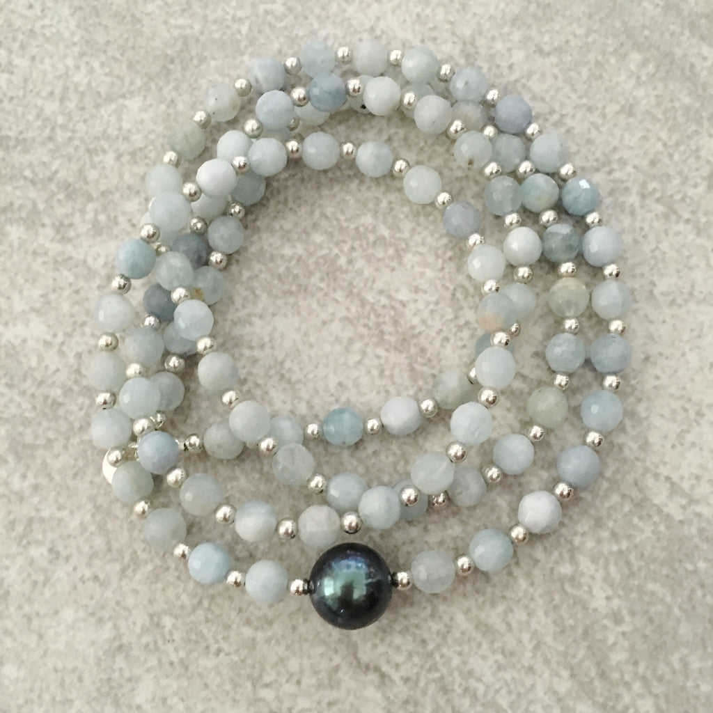 Tahitian pearl with amazonite