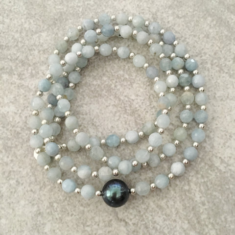 Tahitian Pearl & Amazonite Mala Necklace