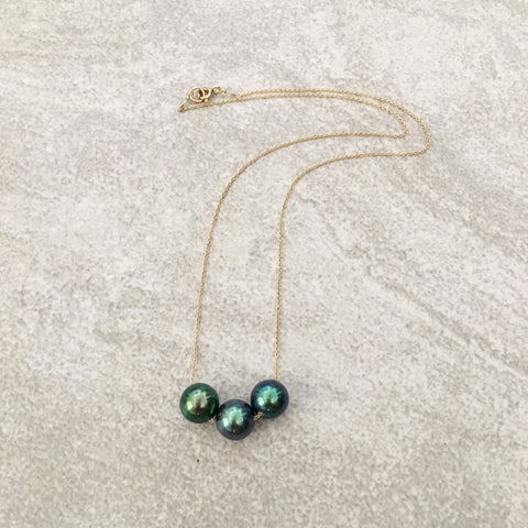 Triple Tahitian Pearl 14K Gold Necklace