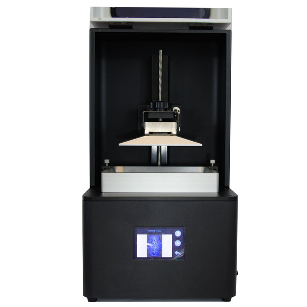 build chamber of EPAX X1 3d resin printer with build plate and vat installed
