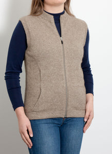 Merino Possum Sleeveless Vest - Oyster