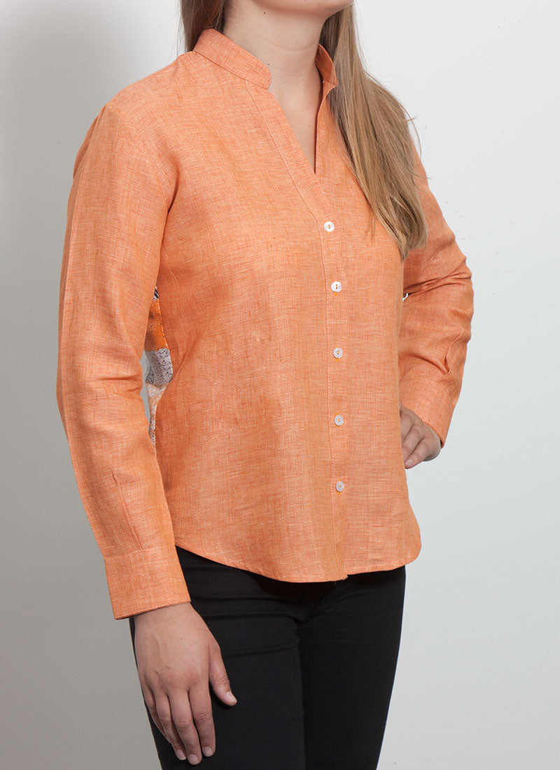 Giorgina Blouse - Made in Italy - Pure Linen with 100% Silk back