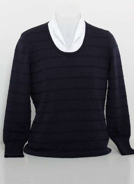 100% Fine Merino - Scoop Neck Jumper with Subtle Self Stripe